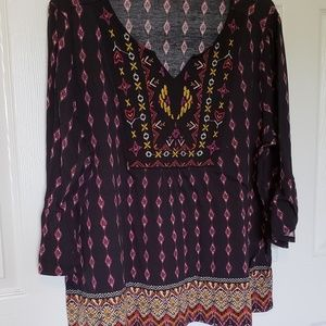 Tops - Black Boho Tribal Print Peasant Blouse SZ 2X